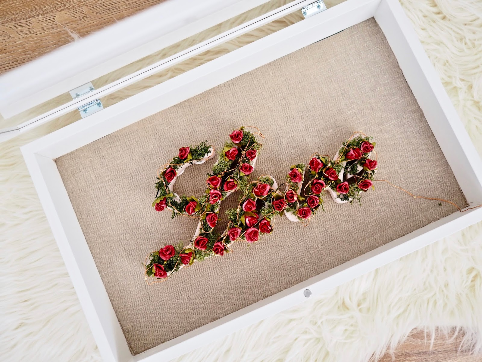 DIY Valentine's Day frame box sign with fake blooms