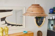 DIY wicker pendant lamp of a woven basket