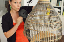 DIY woven lamp of a large woven basket