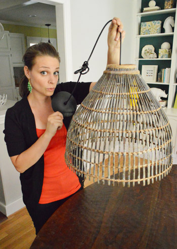 DIY woven lamp of a large woven basket (via www.younghouselove.com)