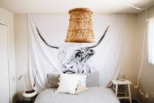 DIY rattan pendant light of a basket