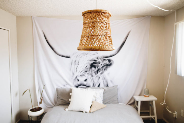 DIY rattan pendant light of a basket (via closetvomit.com)