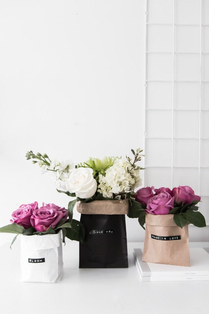 DIY paper bag floral Valentine centerpieces (via www.thebeautydojo.com)