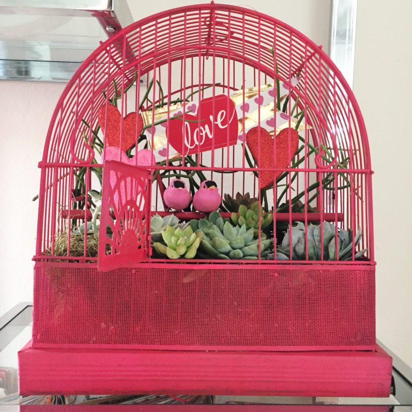 DIY pink love bird succulent planter as a centerpiece