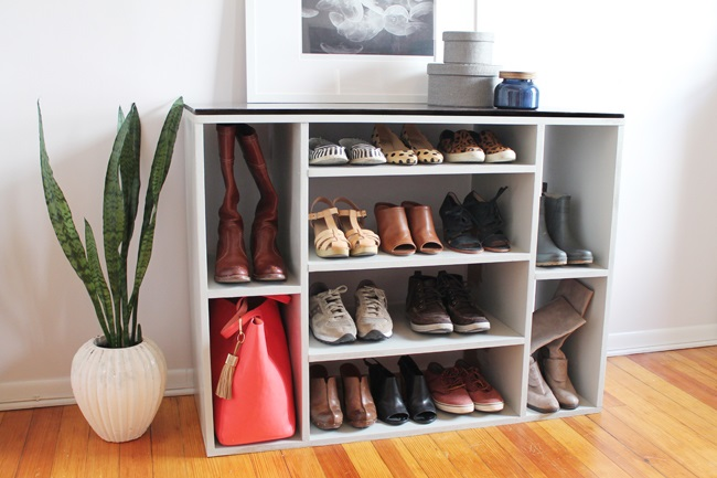 DIY shoe and purse storage of painted plywood (via www.blackanddecker.com)