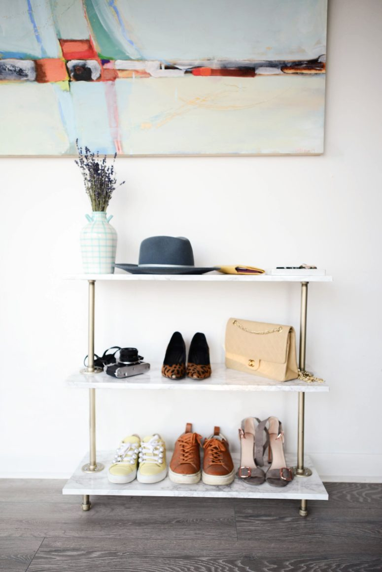 DIY marble contact paper and piping shoe rack  (via threadsandblooms.com)
