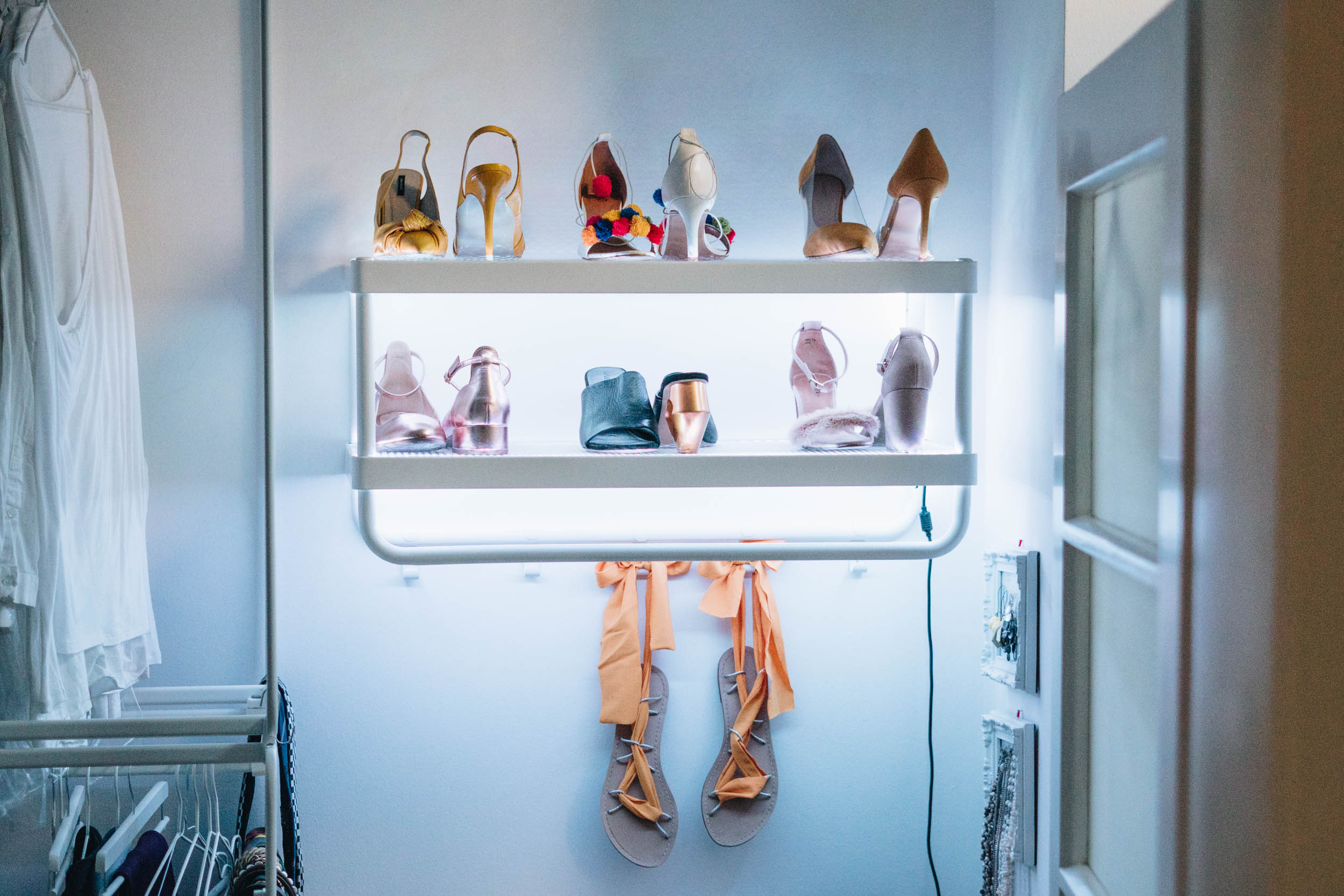 DIY wall mounted shoe rack with LEDs