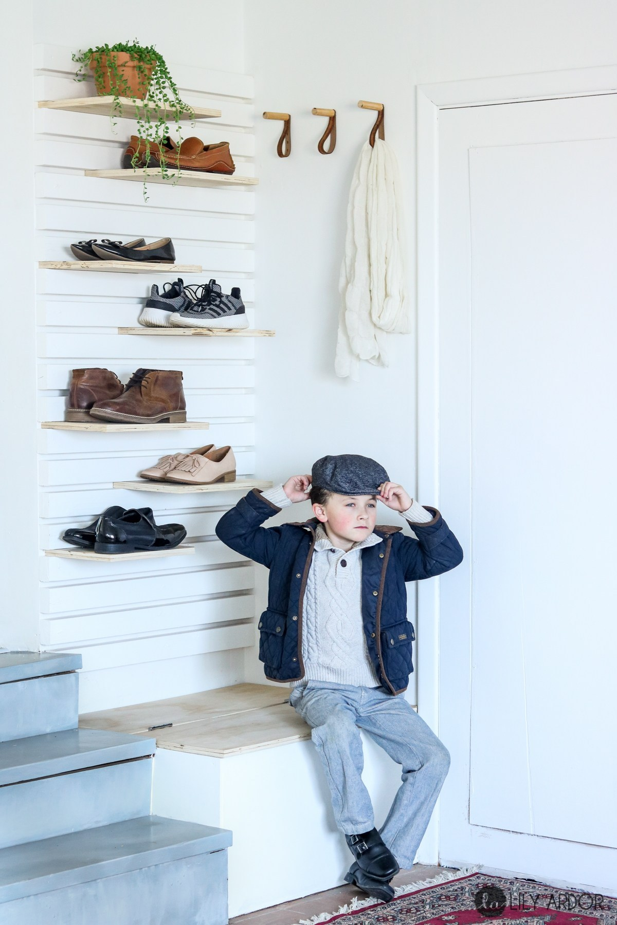 DIY entryway floating shoe shelves and a matching bench