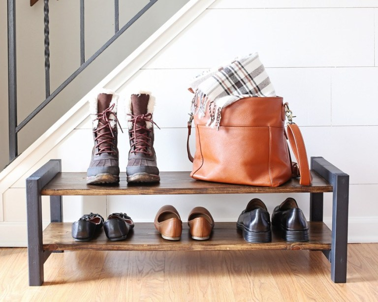 DIY wooden shoe rack of two stories (via angelamariemade.com)
