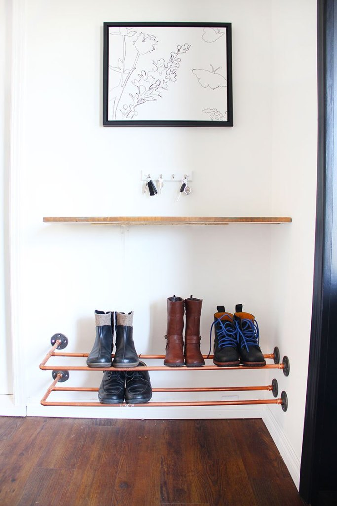 DIY copper piping floatign shoe rack (via freshcrush.com)