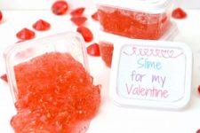 DIY hot red Valentine's Day slime
