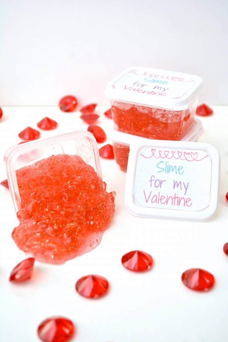 DIY hot red Valentine's Day slime