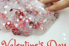 DIY sheer Valentine's Day slime with various hearts