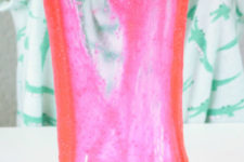 DIY bright pink Valentine's Day slime