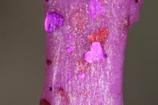 DIY hot pink glitter slime with hearts
