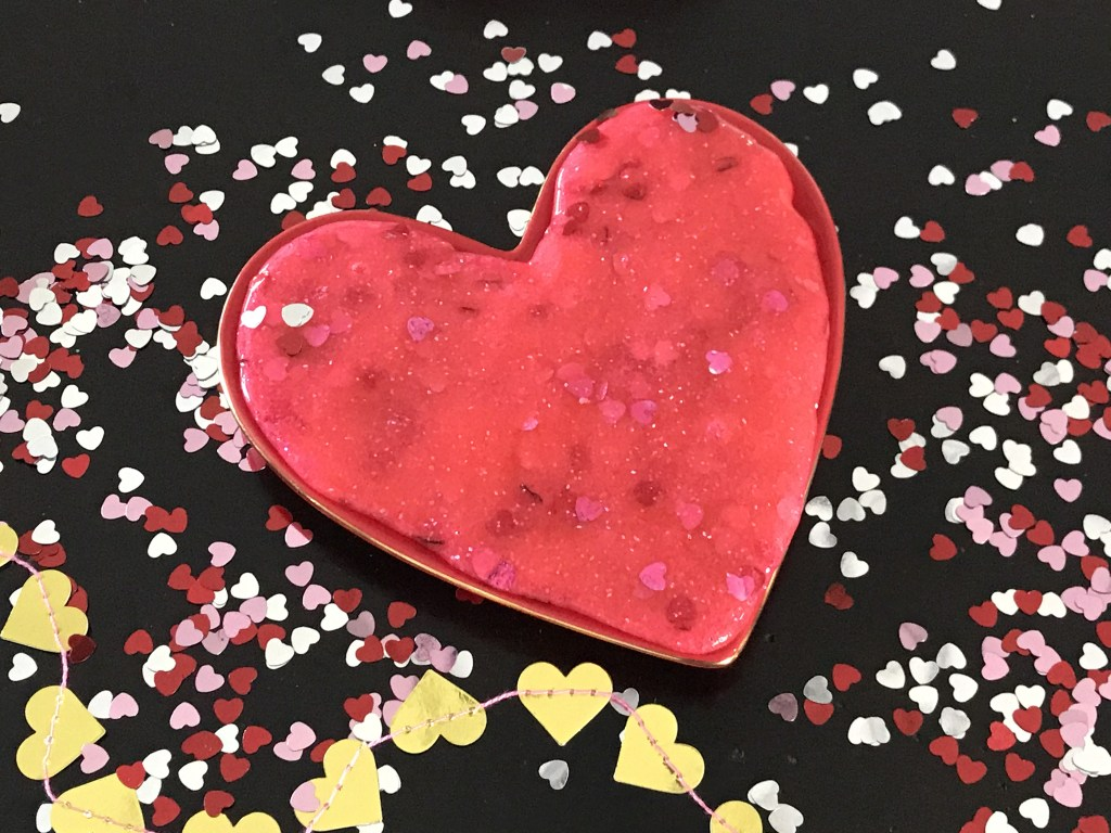 DIY glitter slime with hearts