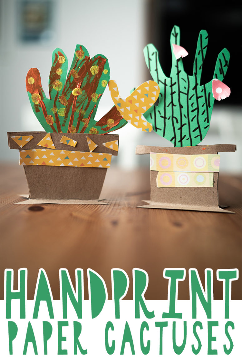 funny handprint paper cactuses in planters
