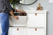 02 a chic and simple IKEA Hemnes cabinet hack with leather pulls is a cool way to spruce up a simple storage piece