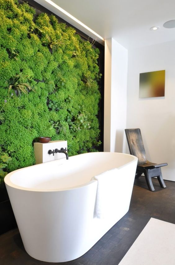 a living wall in your bathroom will turn it into a natural oasis easily, besides it's a hot trend