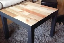 05 a black Lack table clad with light-colored wood is a modern and rustic idea to rock