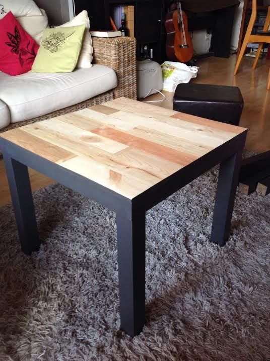 a black Lack table clad with light-colored wood is a modern and rustic idea to rock