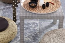 06 IKEA Lack tables covered with water-resistant fabrics to make them more sophisticated