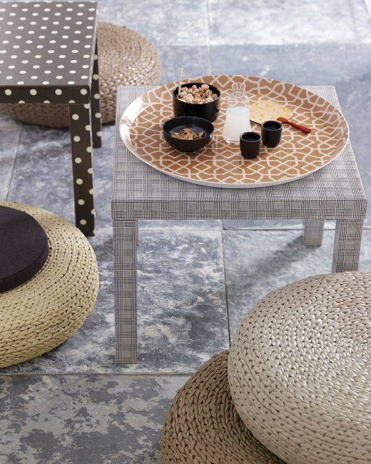 IKEA Lack tables covered with water-resistant fabrics to make them more sophisticated