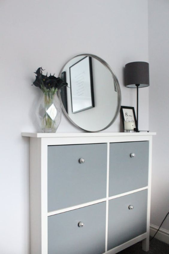 a stylish modern IKEA Hemnes cabinet hack in slate grey and with tiny and cute knobs of a pearly shade