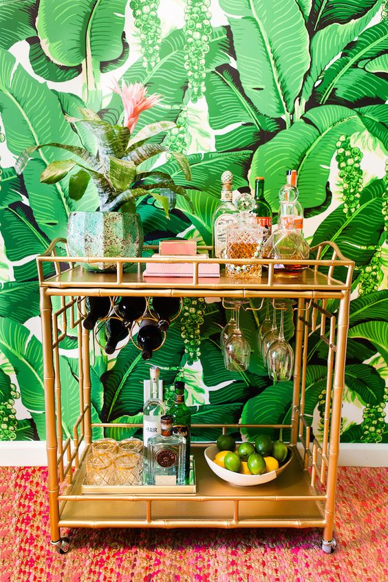 place a tropicla potted plant on your cart and voila - your bar cart is done