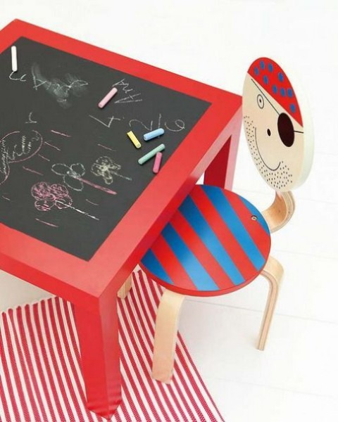 a Lack table turned into an art station painted red and with a chalkboard tabletop for kids
