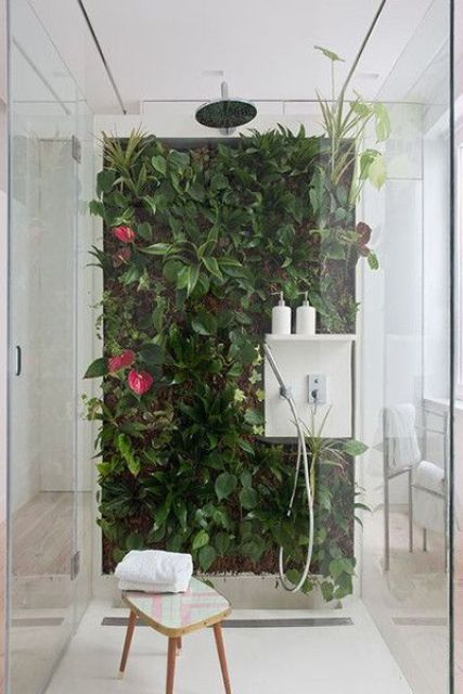 a shower with a bright living wall that creates a tropical feeling in the space and makes it breathable