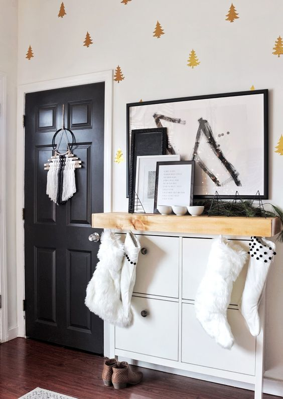 add a mantel of light-colored wood to your IKEA Hemnes shoe cabinet to make it bolder