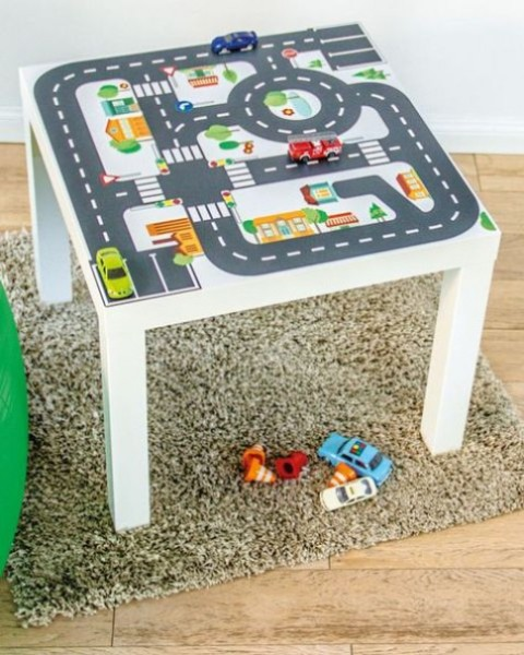 a cool and fun play table for your kids made of an IKEA Lack table and some paints