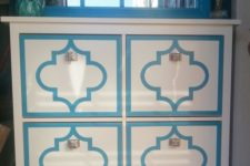 11 an IKEA Hemnes shoe cabinet renovated with bright stickers gets a personality and character, andmetlalic knobs add to it