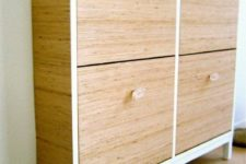 12 an IKEA Hemnes shoe cabinet updated with wood grain contact paper and sheer knobs for a cozy feel