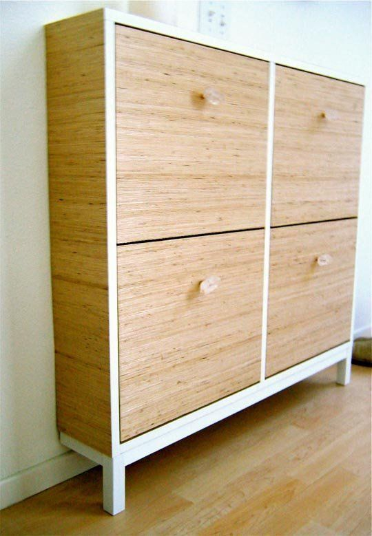 an IKEA Hemnes shoe cabinet updated with wood grain contact paper and sheer knobs for a cozy feel