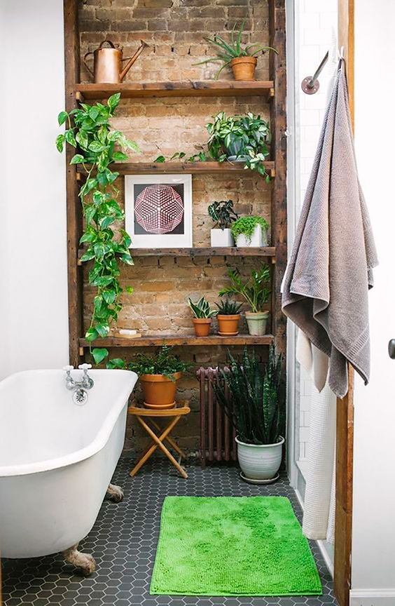 a built-in shelving unit may be used for adding soem potted greenery to your bathroom, put it on the floor, too