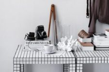 14 Lack tables hacked with checked black and white contact paper fit any Scandinavian space