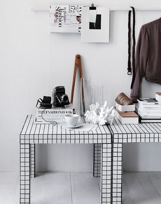 Lack tables hacked with checked black and white contact paper fit any Scandinavian space