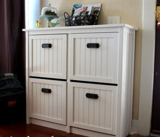 revamp your IKEA Hemnes shoe storage with beadboard and black pulls for a more rustic and relaxed look