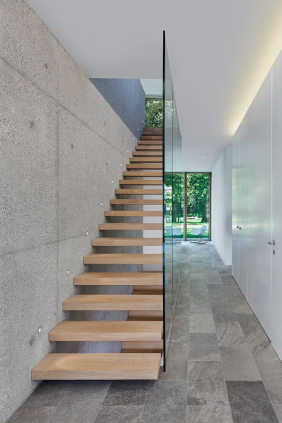 using glass won't spoil a floating look of your stairs and will prevent kids and pets from falling