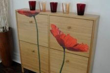 18 spruce up IKEA Hemnes shoe cabinet with colorful floral decals to add it a bit of personality