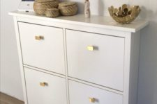 20 update a simple IKEA Hemnes shoe cabinet with stylish geometric pulls liek these ones for a bright modern look