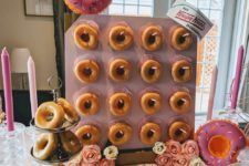 a cool donut wall made of an IKEA lack table that is suitable for a wedding