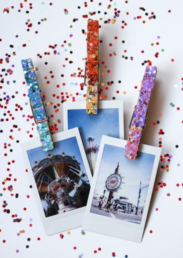 DIY glittered clothespins for photos in the locker (via theproperblog.com)