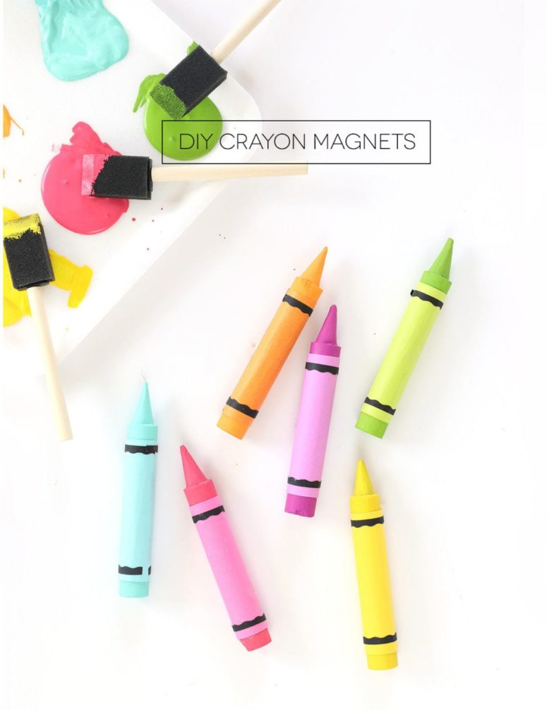 DIY colorful wooden crayon magnets for lockers (via damasklove.com)