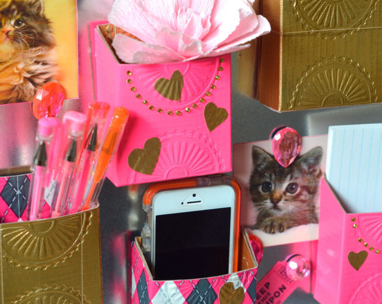 DIY colorful duct tape locker pockets (via www2.fiskars.com)