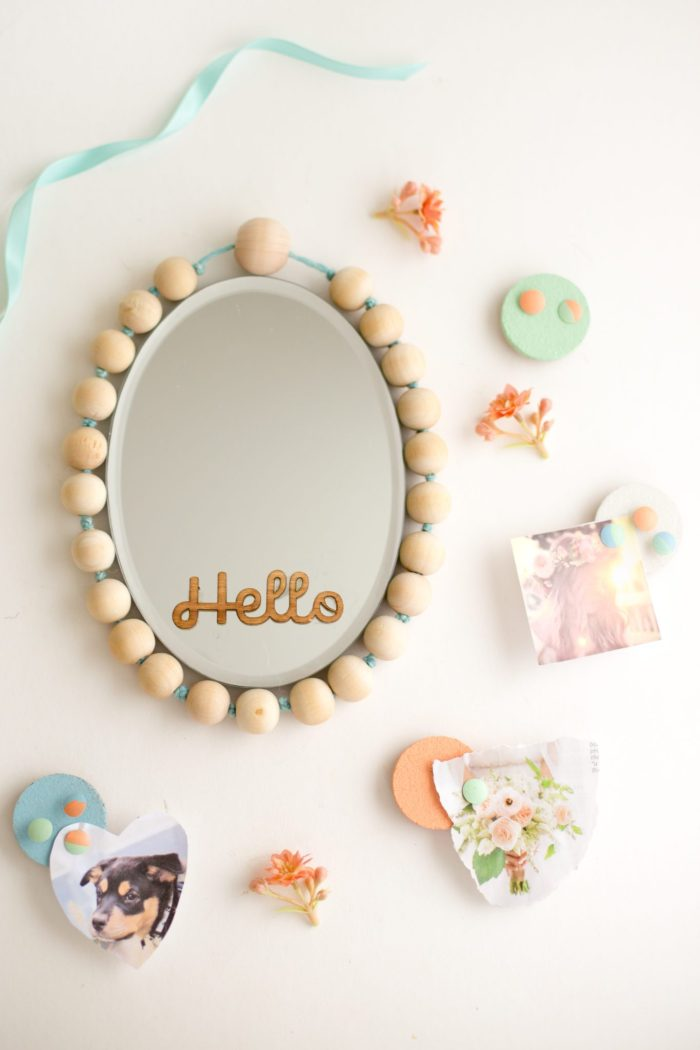DIY locker magnetic mirror decorated with wooden beads