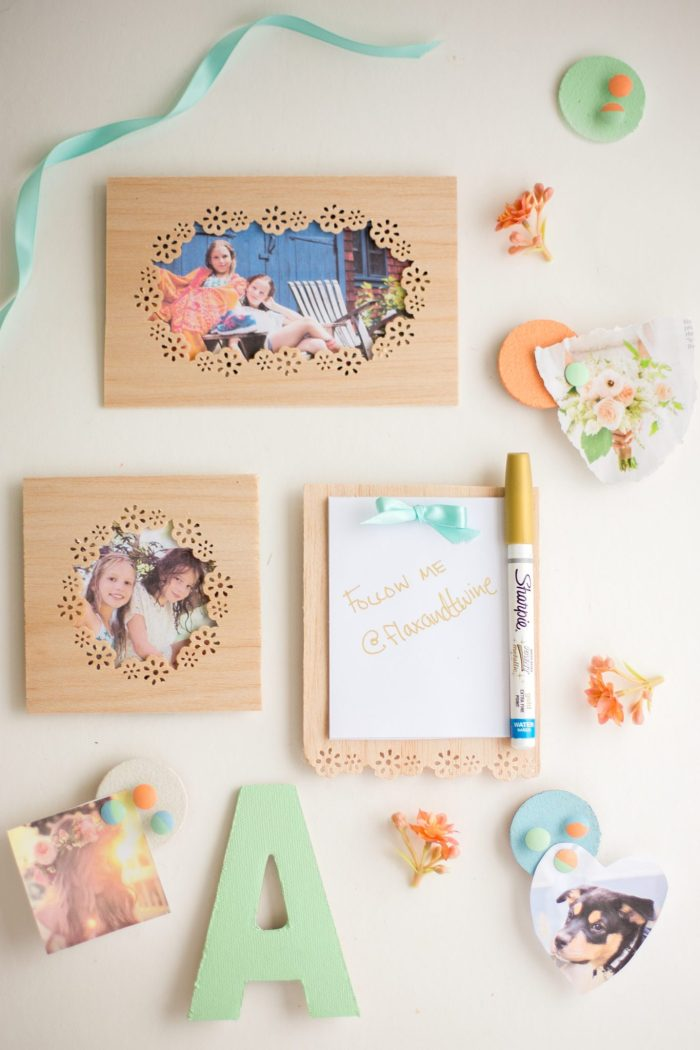 DIY floral pattern wooden photo frames (via www.flaxandtwine.com)