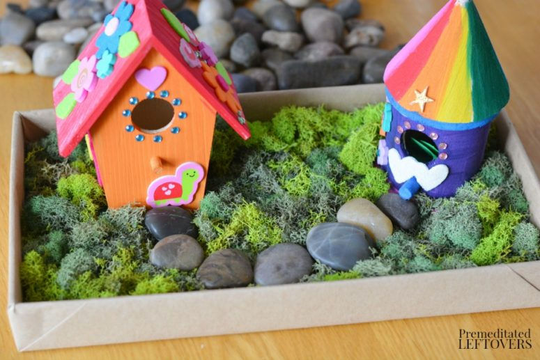 DIY colorful fairy birdhouse to make with your kids (via premeditatedleftovers.com)